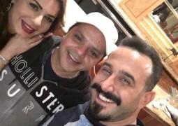 """بالصورة.. محمد هنيدي يفاجئ نجلاء بدر في كواليس """"جريمة شغف"""""""