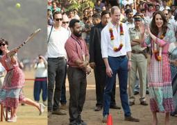 الأمير البريطاني والدوقة يلعبان الكريكيت مع أطفال الهند..