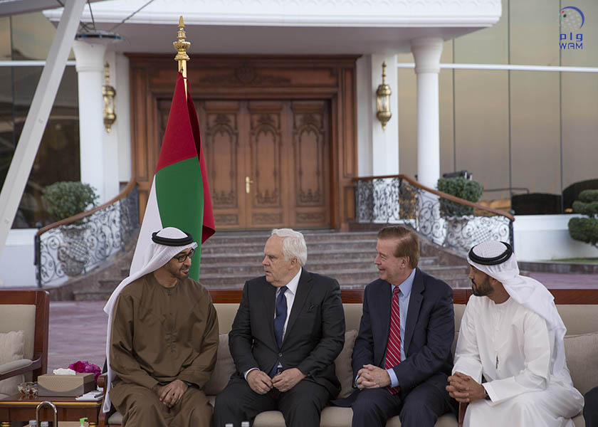 ABU DHABI, UNITED ARAB EMIRATES - February 06, 2017: HH Sheikh Mohamed bin Zayed Al Nahyan, Crown Prince of Abu Dhabi and Deputy Supreme Commander of the UAE Armed Forces (L), meets with Frederick Smith, President and CEO of FedEx (2nd L), during a Sea Palace barza. Seen with HE Mohamed Mubarak Al Mazrouei, Undersecretary of the Crown Prince Court of Abu Dhabi (R). ( Mohamed Al Hammadi / Crown Prince Court - Abu Dhabi ) ---