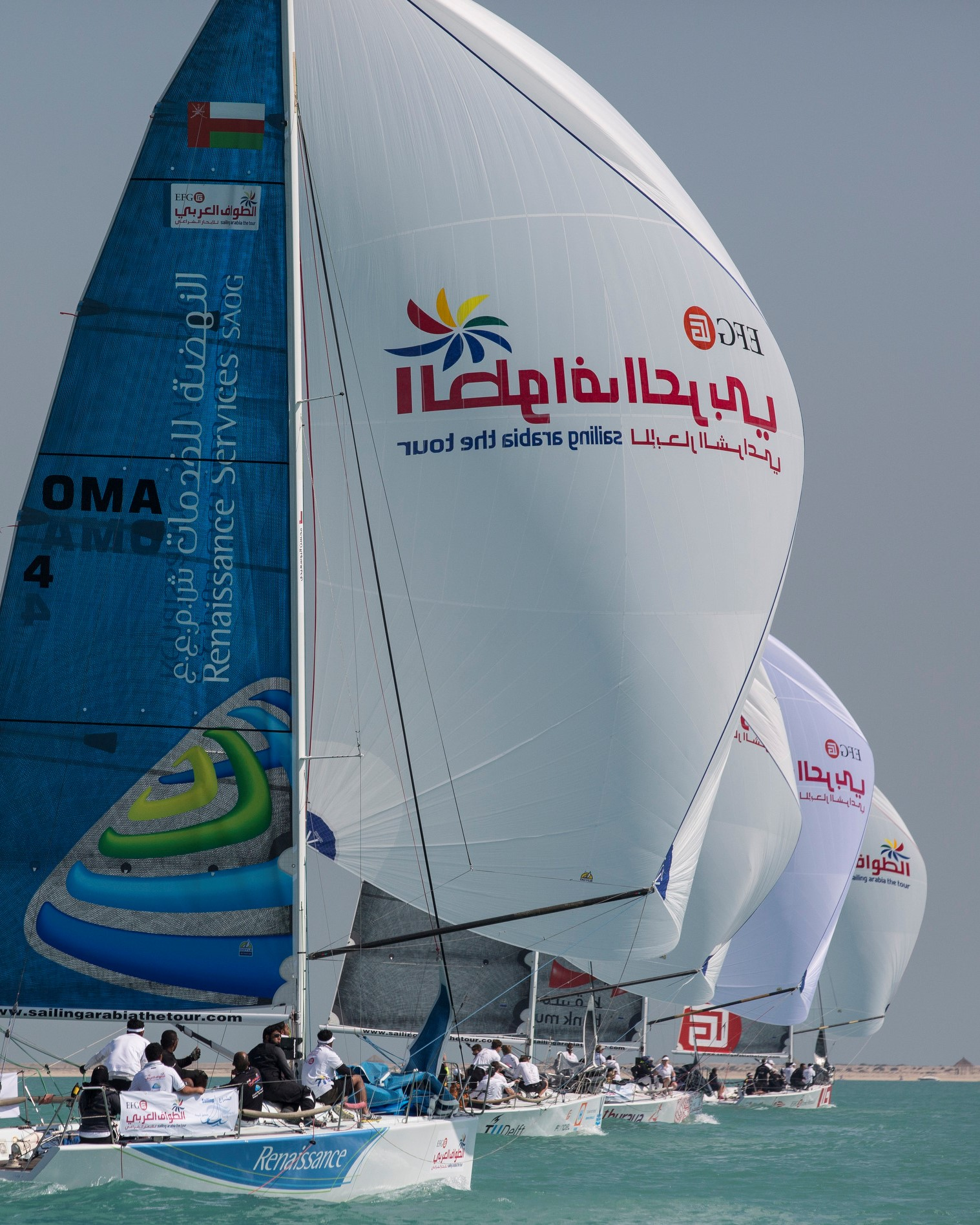 EFG BANK - Sailing Arabia The Tour 2014. Qatar. Doha  Pictures of the In-Port race day. Team Renaissance (OMA) Credit - Lloyd Images