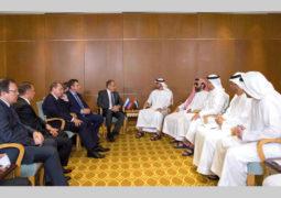 محمد بن زايد ولافروف يبحثان القضايا الإقليمية والدولية والتطورات في المنطقة