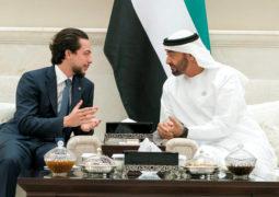 محمد بن زايد يستقبل ولي عهد الأردن ويؤكد متانة العلاقات بين البلدين